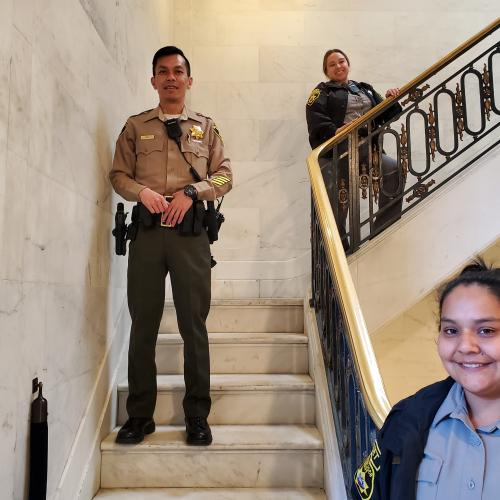SF Sheriff's Employees practice social distancing while protecting public safety