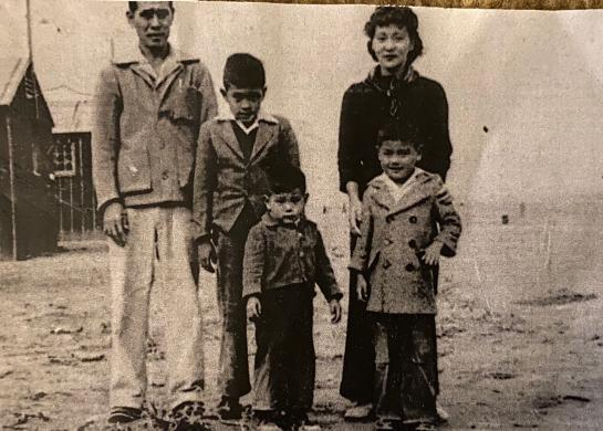 Miyamoto father's family at Heart Mountain Relocation Camp, Wyoming