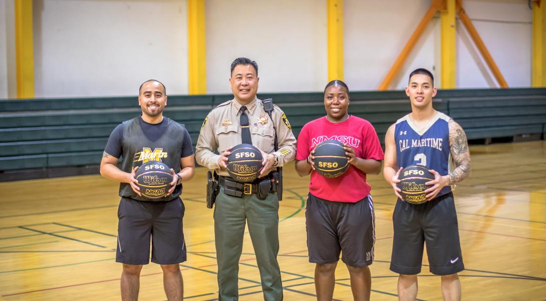 "Join our Team! Former college hoops players (l to r) Jourdan Santos, Jasmine Lowe and Patrick Dungo bring their ""A"" game to the San Francisco Sheriff's Office. Click ""Join our team"" to learn about SFSO careers."